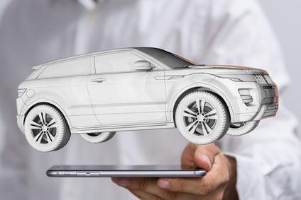 3D-Modell eines Autos, das über einem Smartphone schwebt.